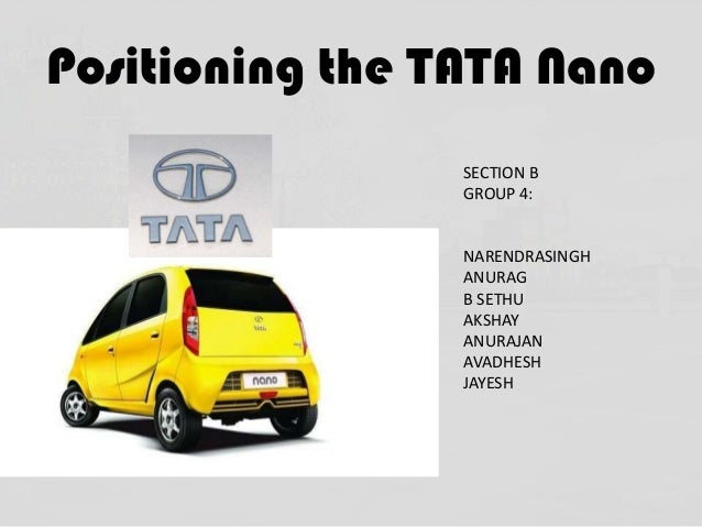 Positioning the TATA Nano SECTION B GROUP 4:  NARENDRASINGH ANURAG B SETHU AKSHAY ANURAJAN AVADHESH JAYESH