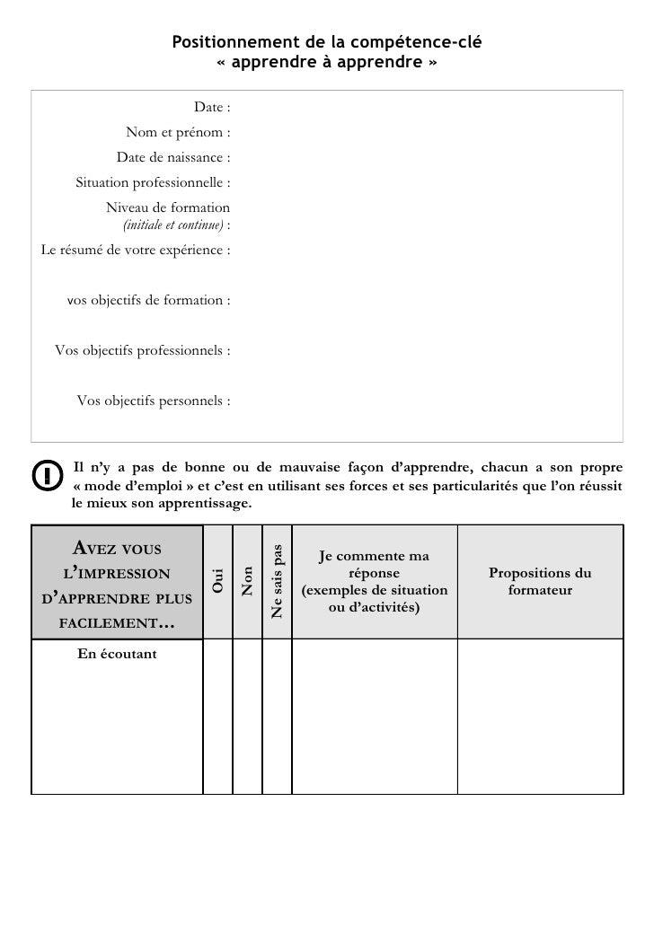 Fiche outil « apprendre à apprendre »          http://competencescles.eu                            Positionnement de la c...