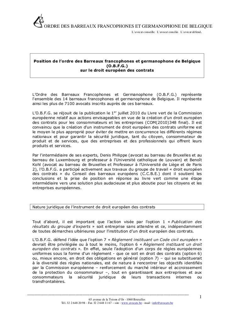 ORDRE DES BARREAUX FRANCOPHONES ET GERMANOPHONE DE BELGIQUE                                      L'avocat conseille. L'avo...
