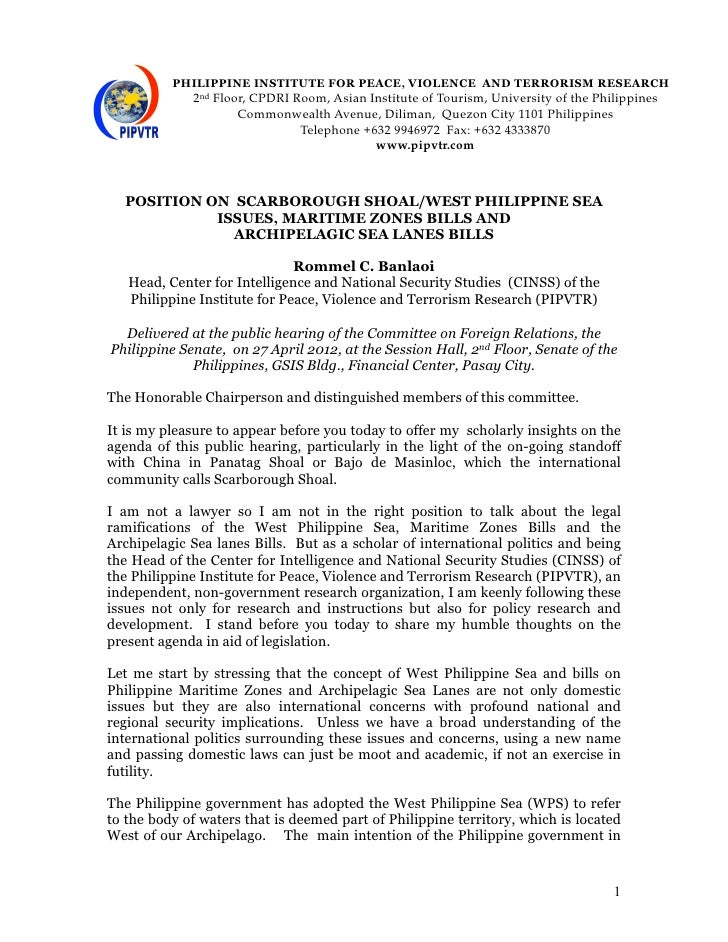 Position on Scarborough Shoal issues