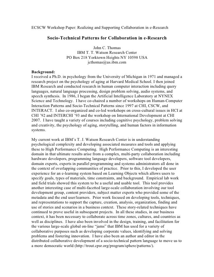 ECSCW Workshop Paper: Realizing and Supporting Collaboration in e-Research         Socio-Technical Patterns for Collaborat...