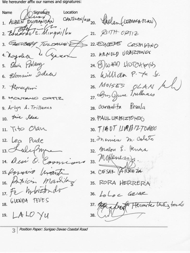 Position paper signatories