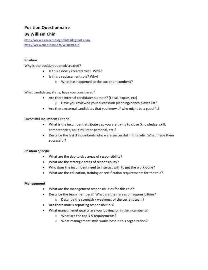 Position Questionnaire By William Chin http://www.asiarecruitingtidbits.blogspot.com/ http://www.slideshare.net/WilliamChi...