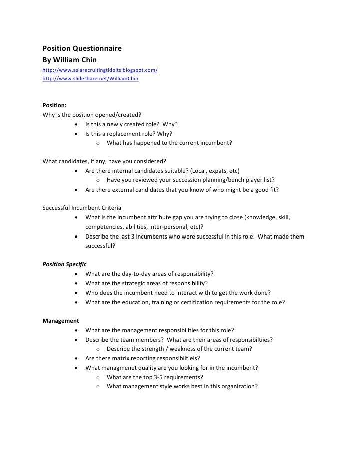 Position Questionnaire