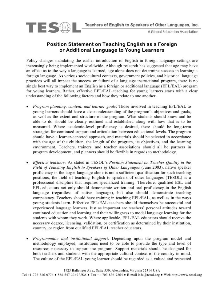 Position Statement on Teaching English as a Foreign                     or Additional Language to Young Learners   Policy ...