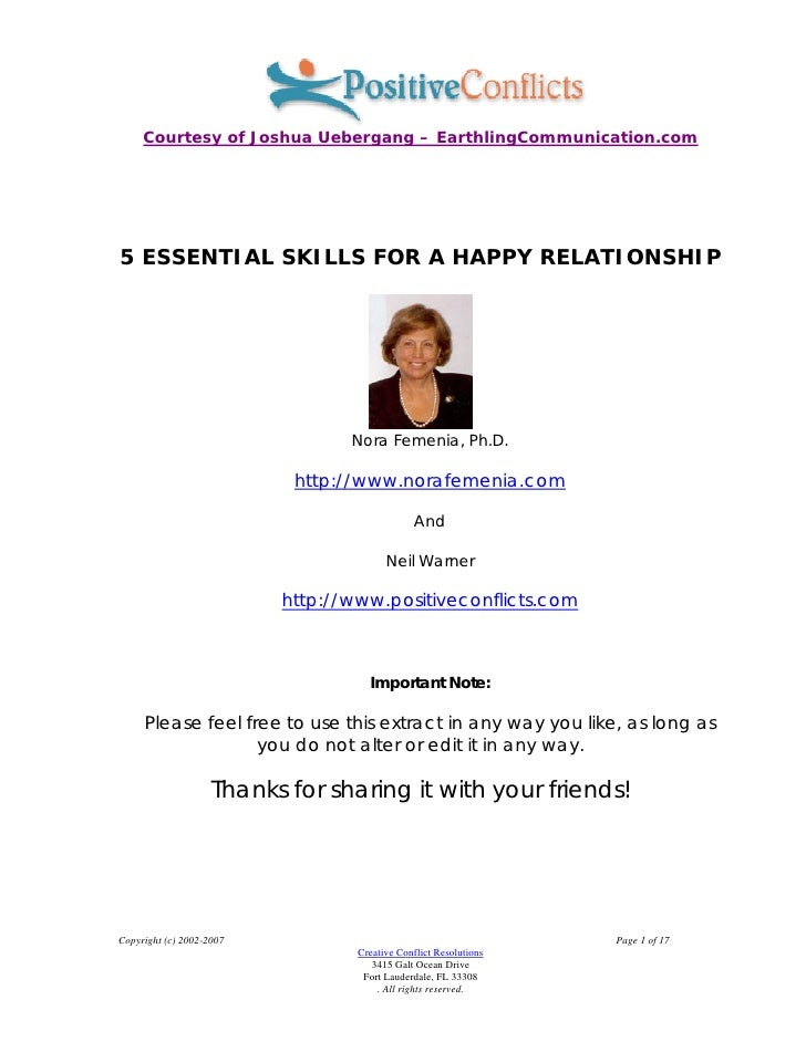 Courtesy of Joshua Uebergang – EarthlingCommunication.com     5 ESSENTIAL SKILLS FOR A HAPPY RELATIONSHIP                 ...