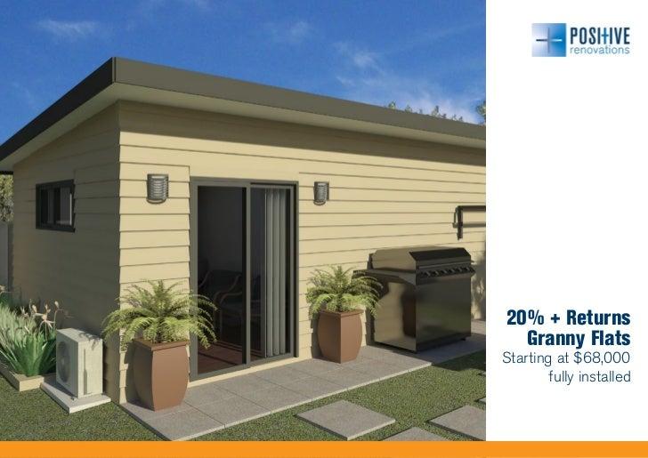 20% + Returns  Granny FlatsStarting at $68,000        fully installed