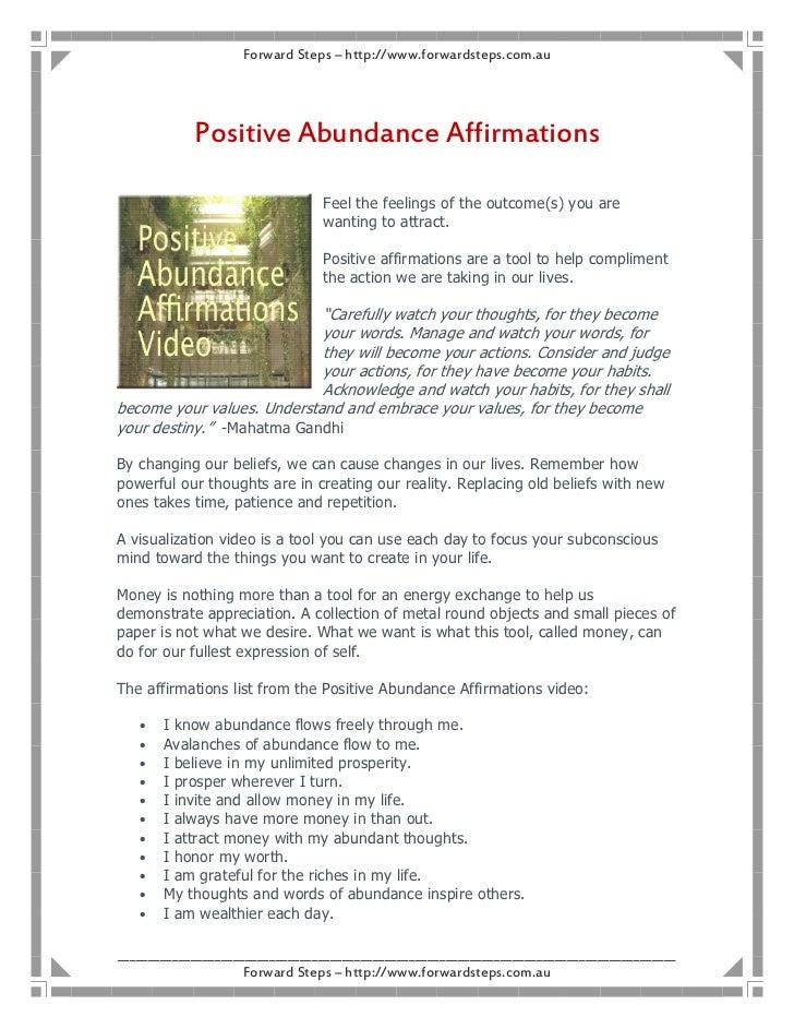 Forward Steps – http://www.forwardsteps.com.au            Positive Abundance Affirmations                                 ...