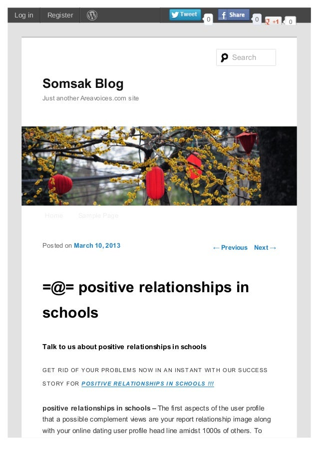 ← Previous Next →=@= positive relationships inschoolsTalk to us about positive relationships in schoolsGET RID OF YOUR PRO...