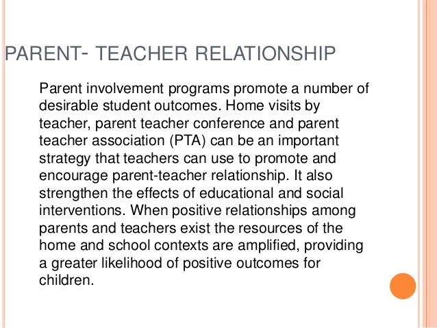 positive relationship with parents as a teacher
