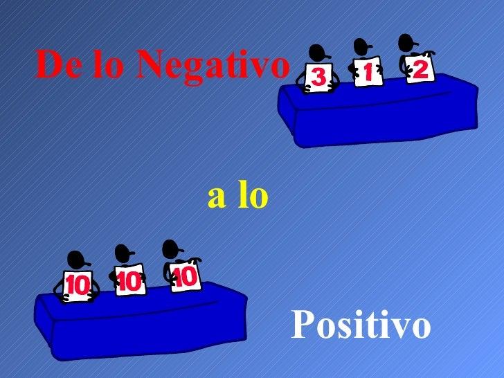 De lo Negativo a lo Positivo