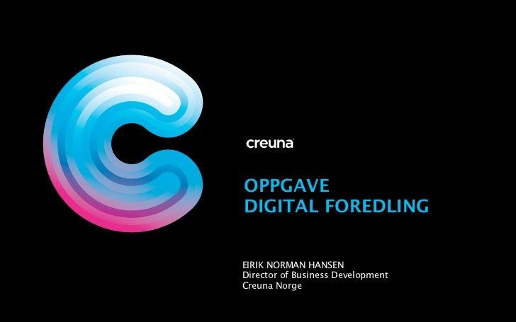 Oppgave i digital foredling