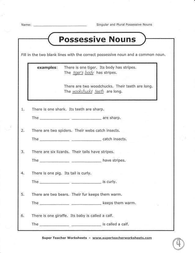 Super Teacher Worksheets For Possessive Nouns Worksheet – Plural Possessive Nouns Worksheet