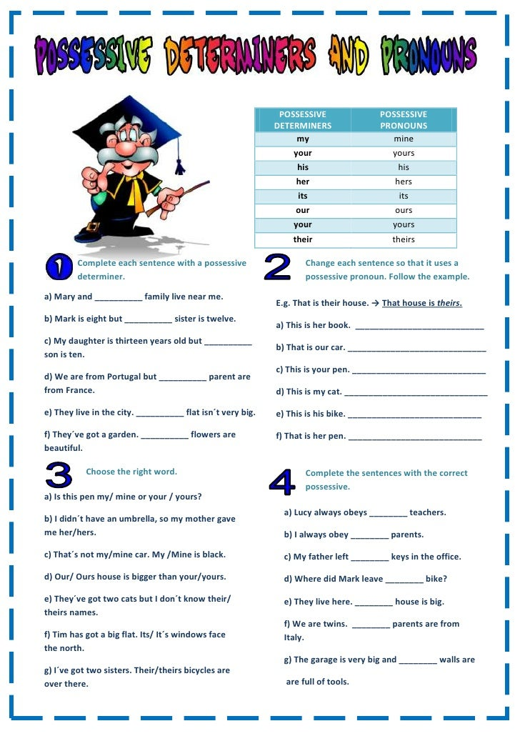pictures possessive adjectives worksheet kaessey pictures possessive ...