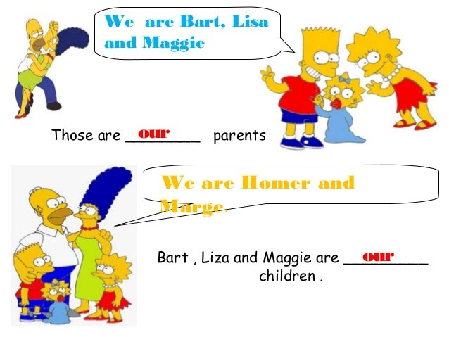 Free Worksheets french pets worksheet : Possessive adjectives with simpsons