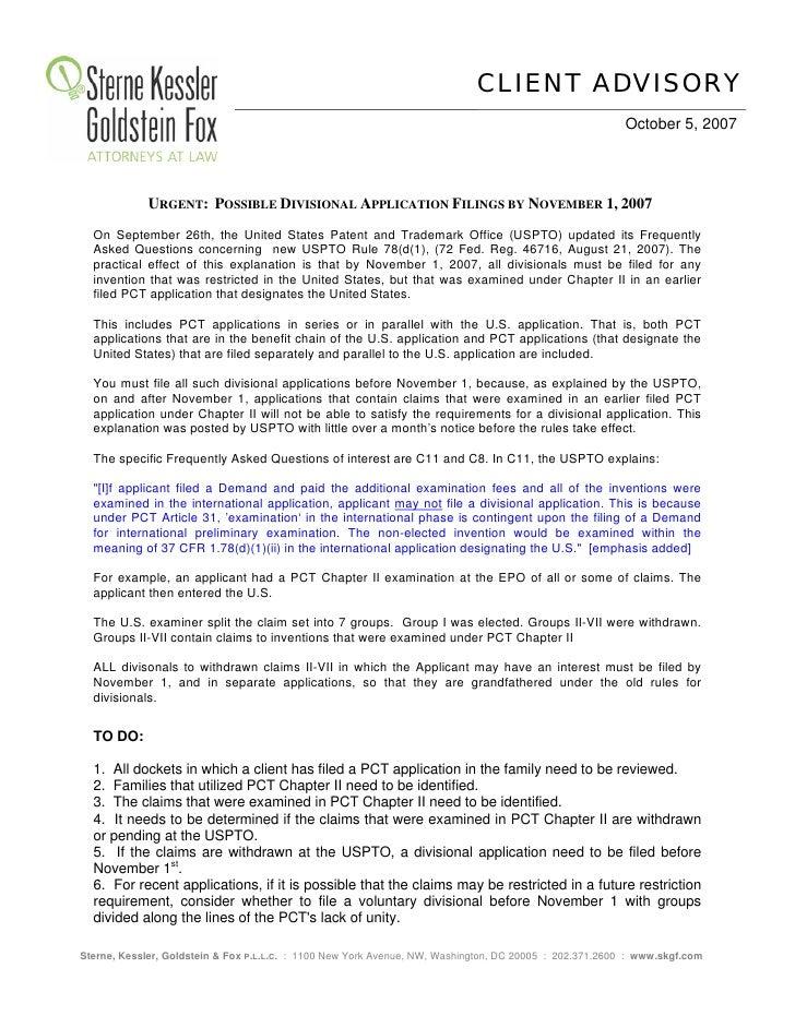 SKGF_Advisory_Possible Divisional Application Filings by November 1, 2007_2007