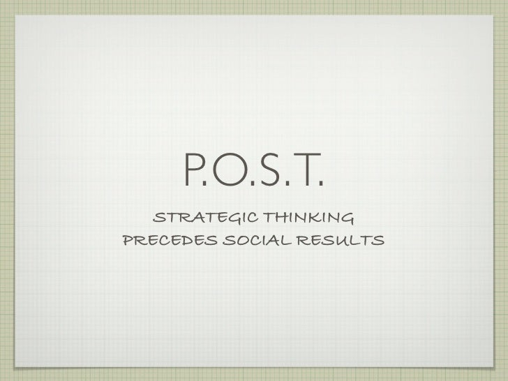 P.O.S.T.    STRATEGIC THINKING PRECEDES SOCIAL RESULTS
