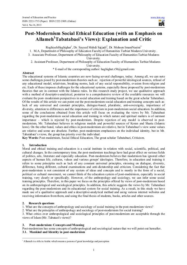 Journal of Education and Practice www.iiste.org ISSN 2222-1735 (Paper) ISSN 2222-288X (Online) Vol.4, No.16, 2013 1 Post-M...