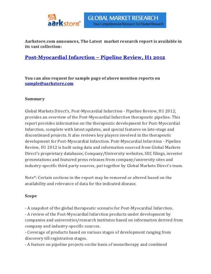 Post myocardial infarction – pipeline review, h1 2012