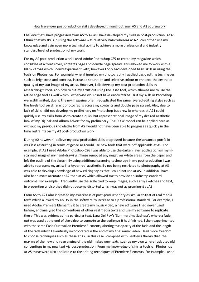 Post production essay