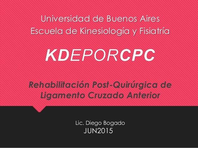 Lic. Diego Bogado Universidad de Buenos Aires Escuela de Kinesiología y Fisiatría JUN2015 Rehabilitación Post-Quirúrgica d...