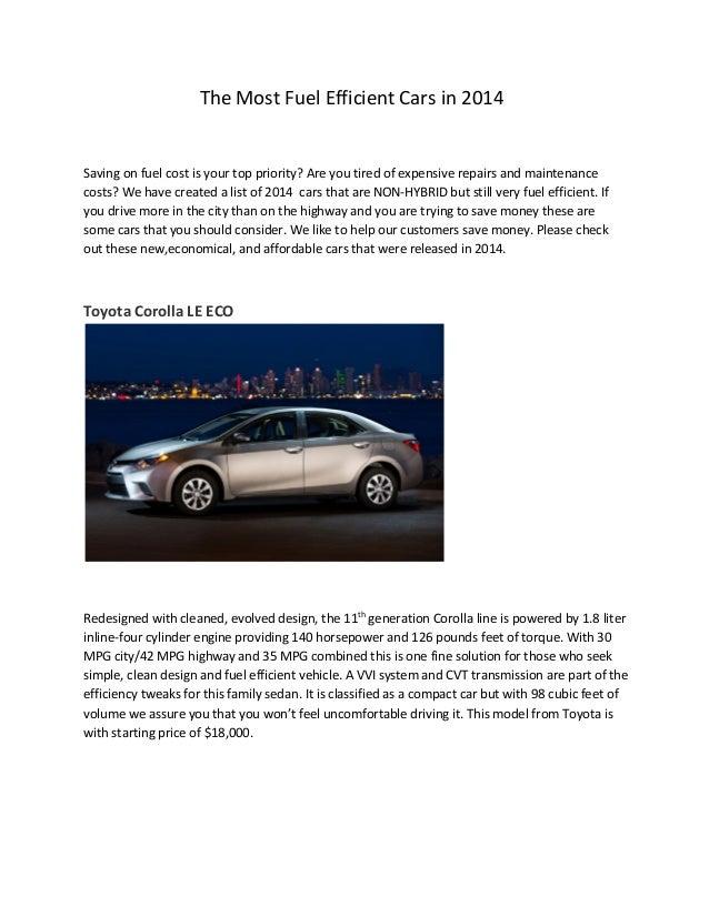 Most Fuel Efficient Cars 2014
