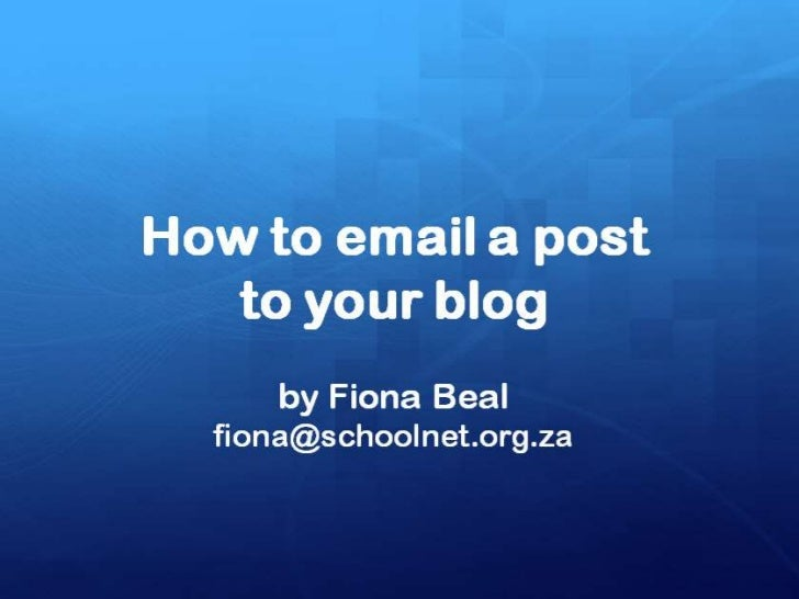 You can send a post via email          to your blog!The Mail-to-Blogger feature turns any emailaccount into a blog-posting...