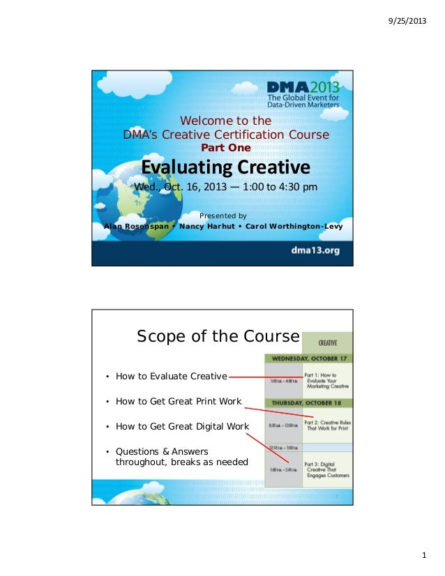9/25/2013 1 Welcome to the DMA's Creative Certification Course Part One Evaluating Creative Wed., Oct. 16, 2013 — 1:00 to ...
