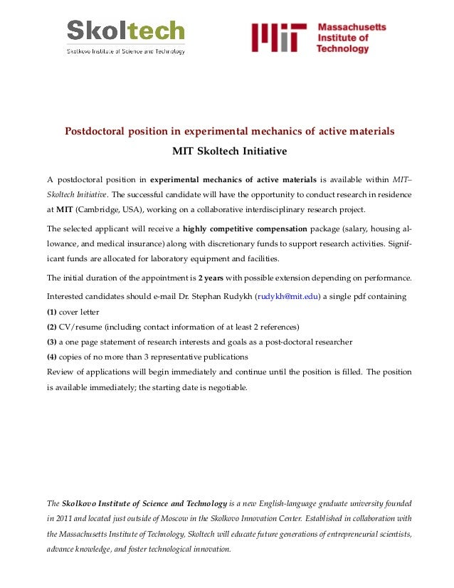 Postdoctoral position in experimental mechanics of active materials MIT Skoltech Initiative A postdoctoral position in exp...
