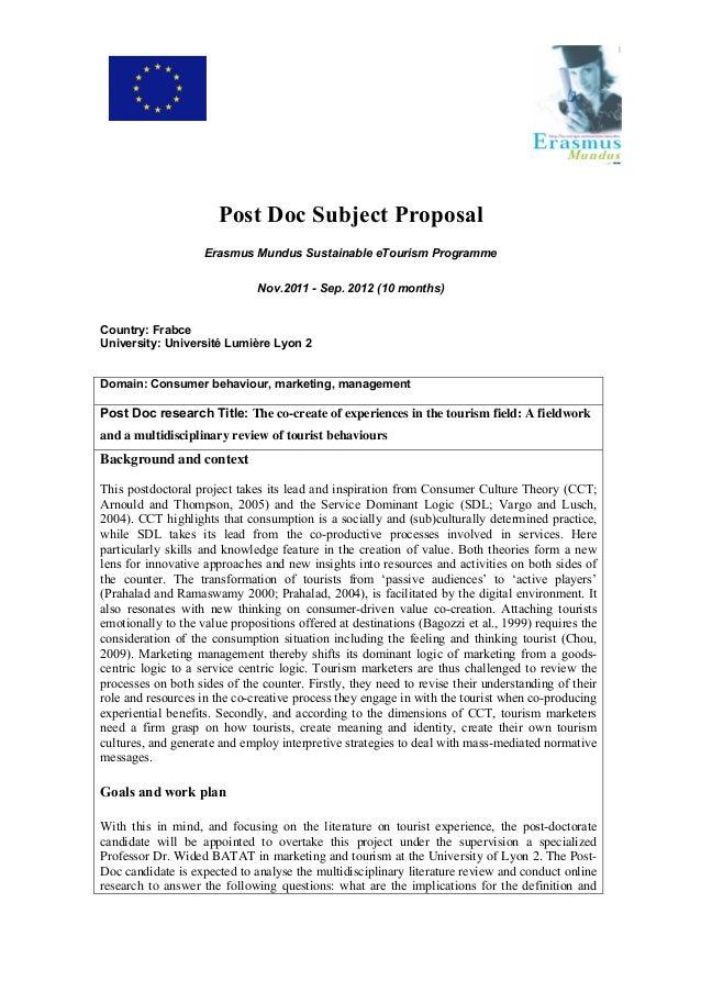 Post Doc Subject Proposal Erasmus Mundus Sustainable eTourism Programme Nov.2011 - Sep. 2012 (10 months) Country: Frabce U...