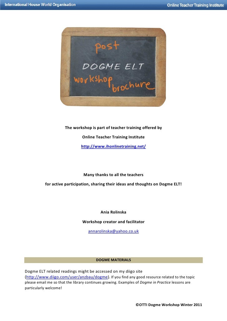 Dogme Workshop Materials