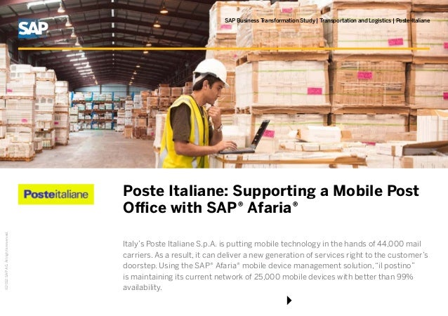 ©2012SAPAG.Allrightsreserved.SAP Business Transformation Study | Transportation and Logistics | Poste ItalianePoste Italia...