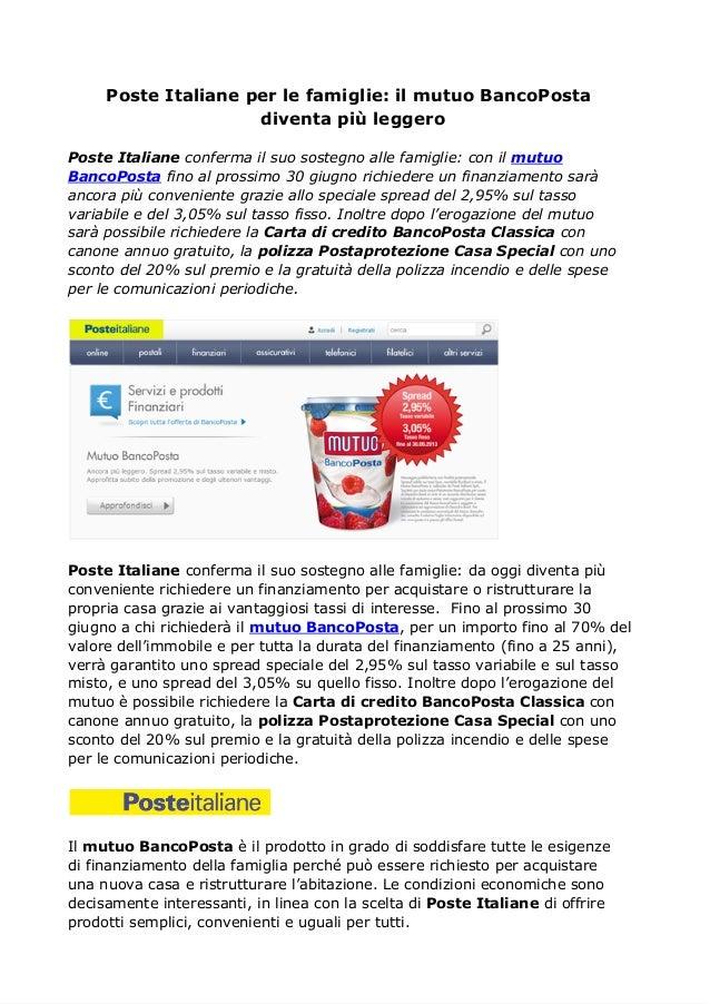 Mutuo BancoPosta: Poste Italiane conferma il suo sostegno alle famiglie
