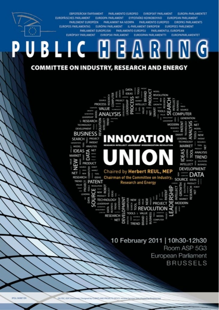 Poster - European Parliament Hearing on EU Innovation Policy - Brussels - Feb 10 2011