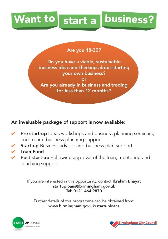Want to start a business? Are you 18-30? Do you have a viable, sustainable business idea and thinking about starting your ...