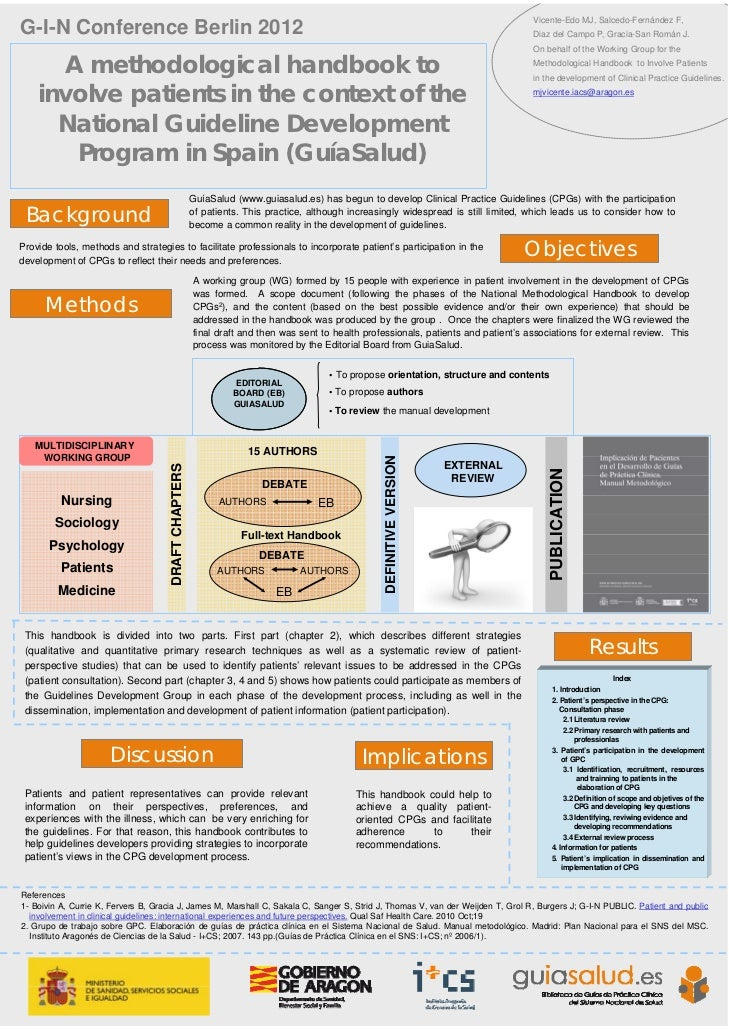 A methodological handbook to involve patients in the context of the National Guideline Development Program in Spain (GuíaSalud)