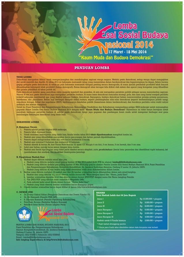 Poster Lomba Menulis Esai Sosial Budaya 2014