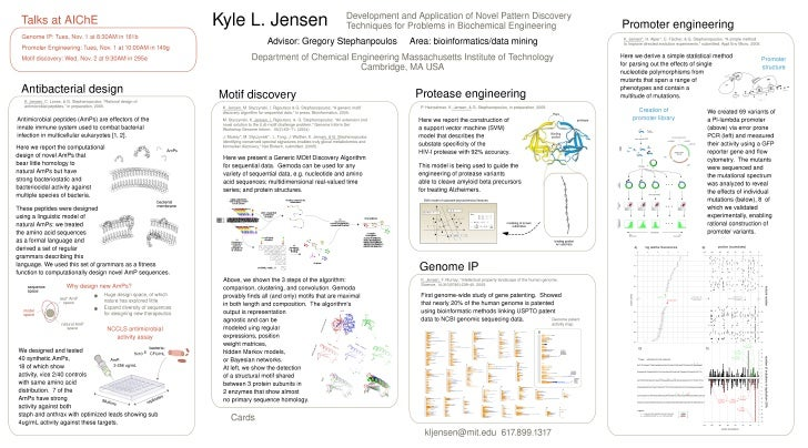 Kyle Jensen Research summary poster 2005