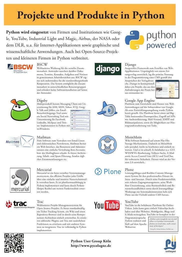 Projekte und Produkte in Python