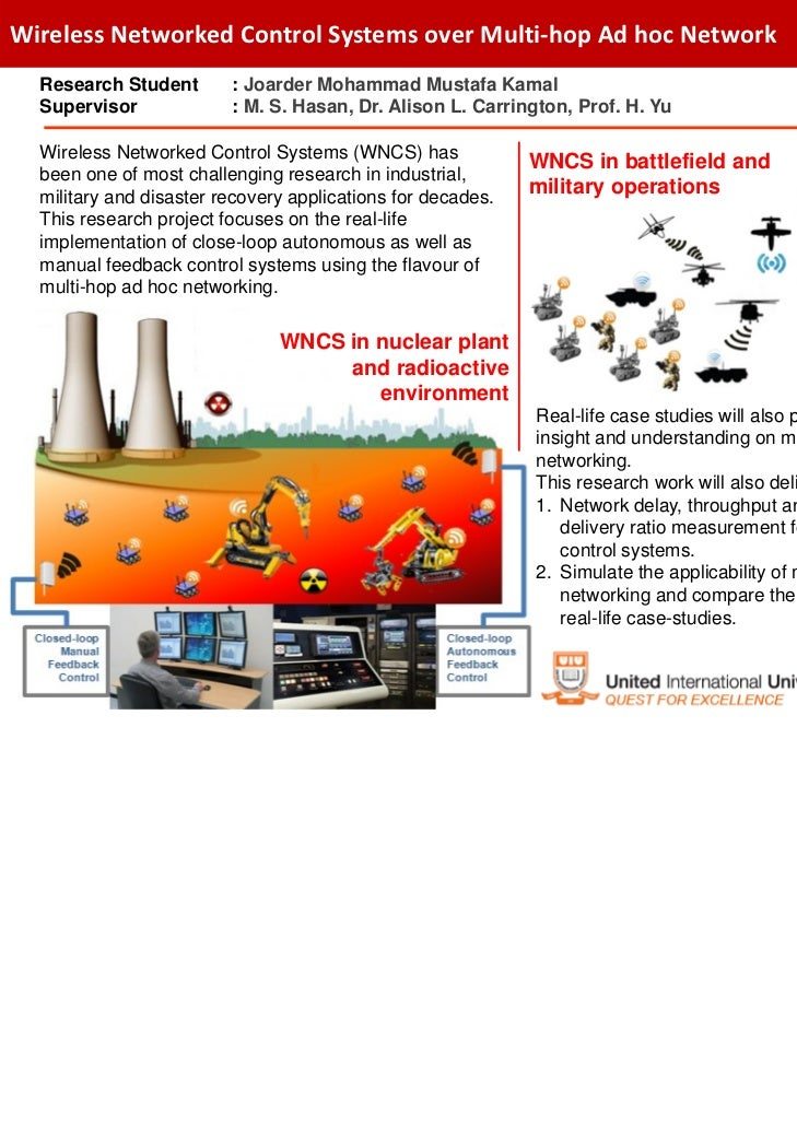 WirelessNetworkedControlSystemsoverMulti‐hopAdhocNetwork  Research Student       : Joarder Mohammad Mustafa Kamal ...