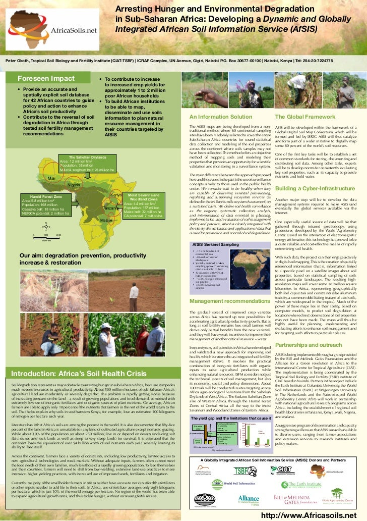 Poster103: Arresting hunger and environmental degradation in Sub-saharan Africa: Developing a dynamic and globally integrated African Soil Information Service AfSIS
