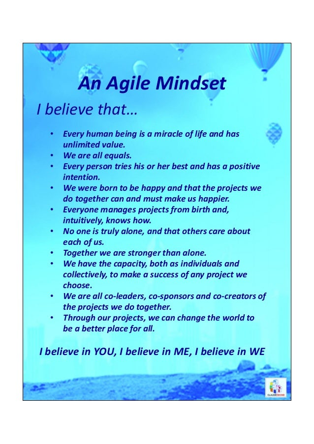 An Agile Mindset - What I believe (Poster - 11x17 size)