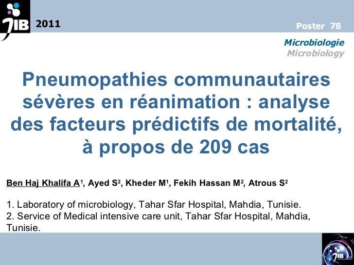 Pneumopathies communautaires sévères en réanimation: analyse des facteurs prédictifs de mortalité, à propos de 209 cas Be...