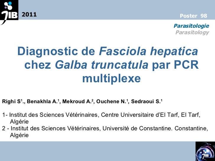 Diagnostic de  Fasciola hepatica  chez  Galba truncatula  par PCR multiplexe Righi S 1 ., Benakhla A. 1 , Mekroud A. 2 , O...