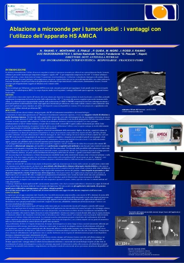 Ablazione a microonde per i tumori solidi : i vantaggi con     l'utilizzo dell'apparato HS AMICA                          ...