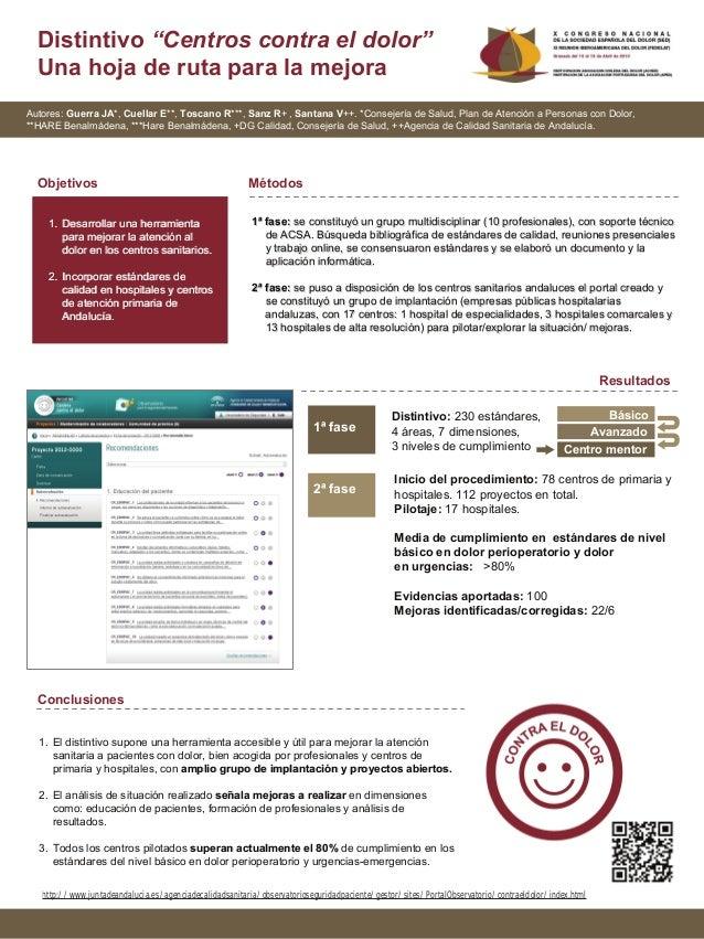 """Distintivo """"Centros contra el dolor""""  Una hoja de ruta para la mejoraAutores: Guerra JA*, Cuellar E**, Toscano R***, Sanz ..."""