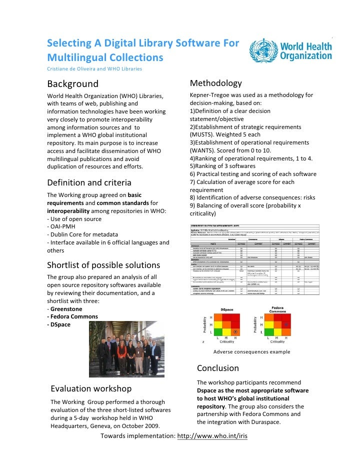 Selecting A Digital Library Software For  Multilingual Collections |  Cristiane de Oliveira | Poster EAHIL2010