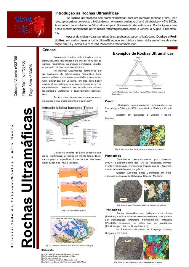 Introdução às Rochas Ultramáficas As rochas Ultramáficas são holomelanocratas (teor em minerais máficos >90%), por isso, a...