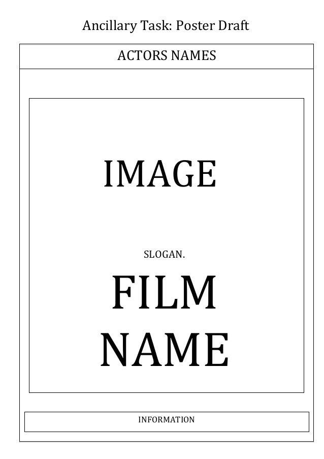 Ancillary Task: Poster Draft ACTORS NAMES  IMAGE SLOGAN.  FILM NAME INFORMATION