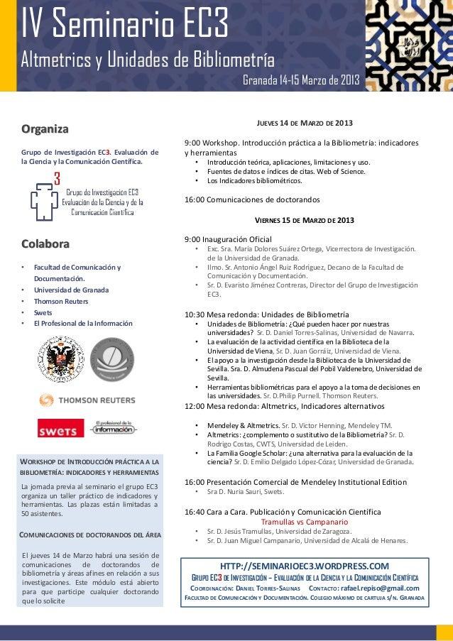 Poster Seminario EC3. Altmetrics y Unidades de Bibliometría